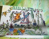 Garden Clothesline, Strathmore Art Card, Clothesline Pen ink Colored Pencil clothesline art gift card memories healing joy Kathleen Leasure
