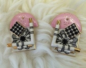 80s new wave porcelain wearable art earrings