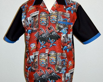 Superman print mens bowling style shirt