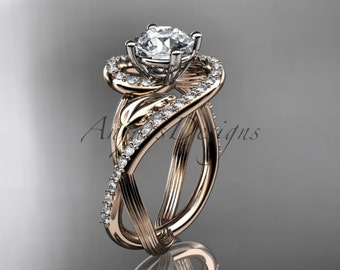 "Unique 14kt rose gold diamond leaf and vine wedding ring, engagement ring with a ""Forever One"" Moissanite center stone ADLR222"