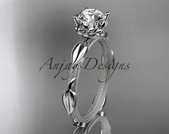 14k  white gold diamond vine and leaf wedding ring,engagement ring ADLR290