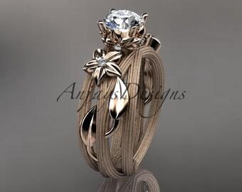 14kt  rose gold diamond floral, leaf and vine  wedding ring, engagement ring ADLR253