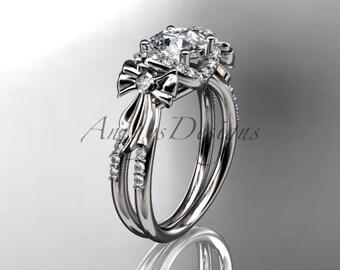 14kt white gold diamond unique engagement ring,wedding ring ADER155