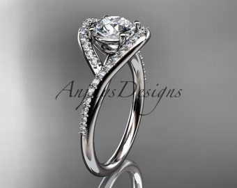"platinum diamond wedding ring, engagement ring with a ""Forever One"" Moissanite center stone ADLR383"