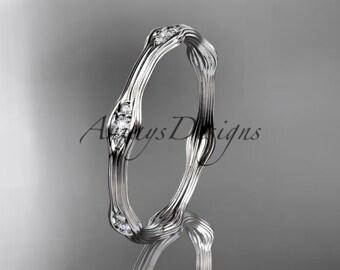 14k white gold diamond vine wedding band, engagement ring ADLR21AB