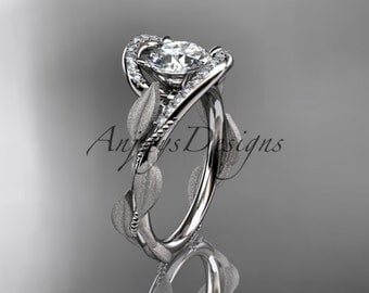platinum diamond leaf and vine wedding ring, engagement ring ADLR64