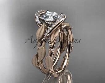 14kt rose gold diamond leaf and vine wedding ring, engagement set ADLR64S