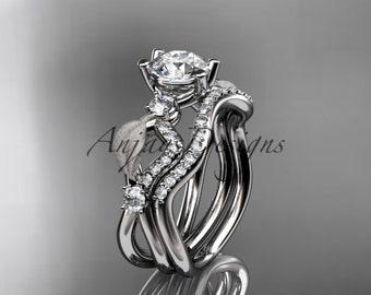 14kt white gold diamond leaf and vine wedding ring, engagement set ADLR68S