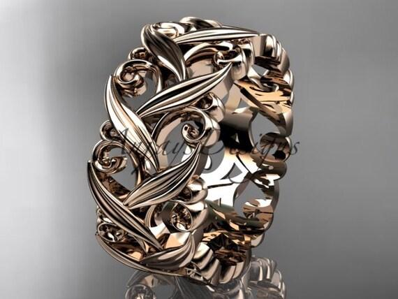 14kt rose gold diamond leaf and vine wedding ring, engagement ring, wedding band ADLR49B