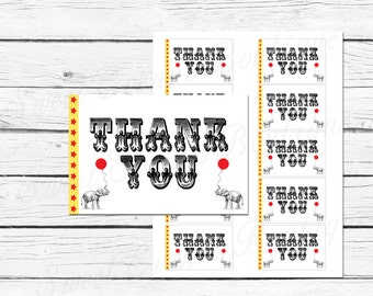 Carnival Birthday Party // Circus Birthday Party // Favor Tags // Favor Stickers // Thank you tags // Printable // Instant download