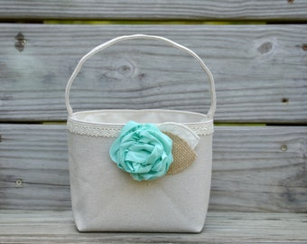 Mint Flower Girl Basket Rustic Burlap and Lace Wedding Shabby Chic Mint Peony Flower Basket