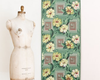 Vintage Floral Wallpaper Roll on Matt Green Background - Mid Century