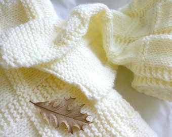Knit Gift Set- Hand Knitted Baby Blanket with Matching Scarf- Made To Order- Ecru, Cream- Gift Set
