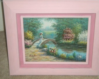 Baroque frame,rose painting, Victorian painting, framed art, nursery wall art, pink wood frame, large painting.
