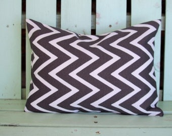 "lumbar 12"" X 16"" brown, white zig zag modern outdoor indoor fabric- decorative pillow cover-throw pillow-accent pillow"