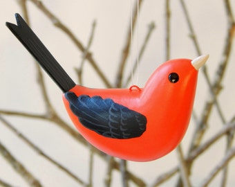 Scarlet Tanager bird ornament handmade decoration
