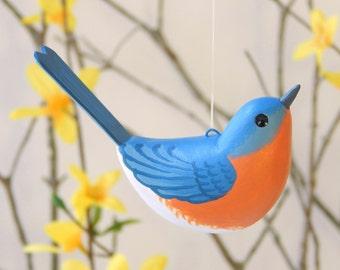Bluebird Handmade Sculpted Ornament Bird Decoration