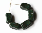 African Beads, Artisan beads from Africa, Ceramic Beads, terracotta clay beads, dark green beads, winter fashion