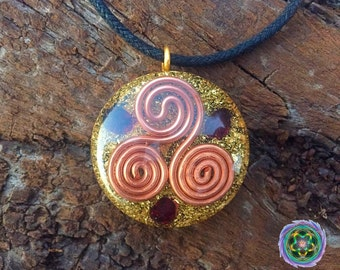 Orgone Heddeka Pendant - Garnet - EMF Blocker - Energy Balancing - Structure Water - FREE Necklace - Hand Made to Order
