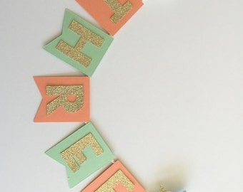 Under the Sea Cake Topper in Coral and Mint with Seahorse. Birthday Cake Decoration. Photo Prop. Glitter Mermaid Party.  Party Decorations.