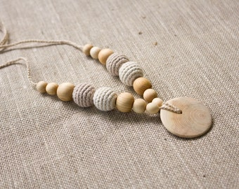 ORGANIC COTTON Nursing Necklace, Mommy Necklace, Breastfeeding, Babywearing, Teething Necklace, Neutral Colors, Juniper Wood - FrejaToys