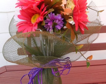Fuchsia (pink) Daisies with Seafoam Green and Purple Flowers Vase tied with Hunter Green Décor Mesh and Purple Raffia