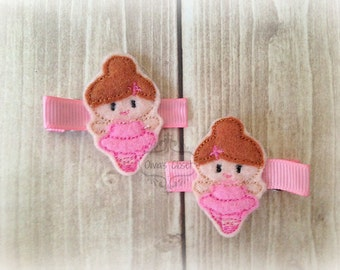 Ballerina Brunette Dancer Dancing Embroidered Felt Hair Clippies. Pick one or two. Pick Left side or Right.