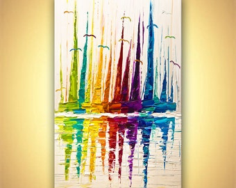 "Colorful Sailboats Painting Original Contemporary modern Abstract Seascape Painting MADE-TO-ORDER Palette Knife by Osnat 60"" x 36"""
