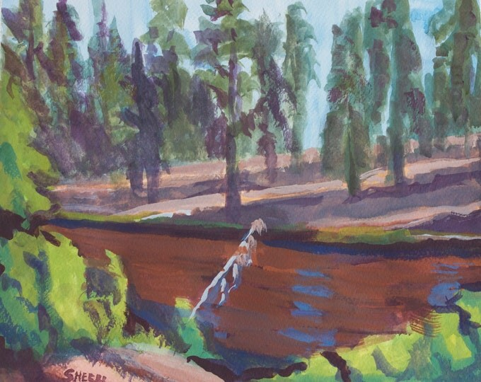 Featured listing image: Fall River Red Side Central Oregon Painting Gouache Paper 10x12 inches Unframed Free Shipping