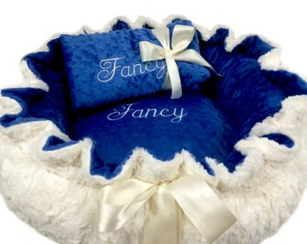 Dog Bed, Pet Bed, Personalized Dog Bed, Midnight Blue and Ivory Minky Dog Bed, Dog Pet Bed And Blanket Set