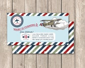 Flying Aces--Aviator, Airplane Birthday Party Invitation