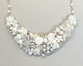 Bridal Necklace- Rhinestone & Pearl Necklace- White Bridal Bib- Statement Necklace- Crystal Necklace- Pearl Wedding Necklace- White Necklace