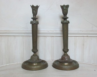 Antique Brass Candle Holder Pair Vintage Bronze Candle Holder Set Brass Bronze Candle Holders