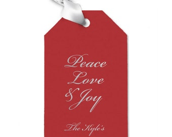Peace Love and Joy Personalized Christmas / Holiday Gift Tag