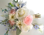 Reserved Lisitng for Mariah Kelley- Garden Inspired Bridal Bouquet in Cream, Pale Pink Blush and Periwinkle Blue Real Touch Flowers