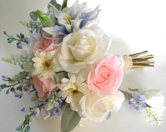 Garden Inspired Bridal Bouquet in Cream, Pale Pink Blush and Periwinkle Blue Real Touch Flowers