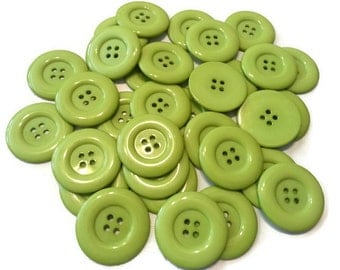 "20 Extra Large Shiny Apple Green Sewing Buttons, Size 38mm (1-1/2"") - bold beautiful green color, 4 hole buttons - CLEARANCE SALE"