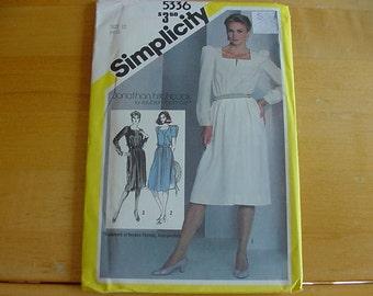 VINTAGE 1980s Simplicity Pattern 5336, Misses Pullover Dress, Front Pleats, Size 12, Bust 34, Uncut