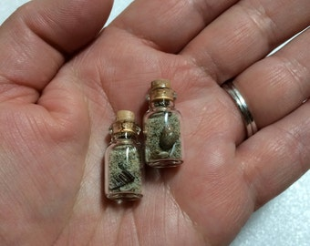 2 Tiny Bottles with Sand and shells, earrings, necklace, pendant, miniature
