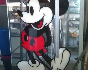 "Vintage Hand Painted Lucite Mickey Mouse sign 1970's HUGE 42""x70"""