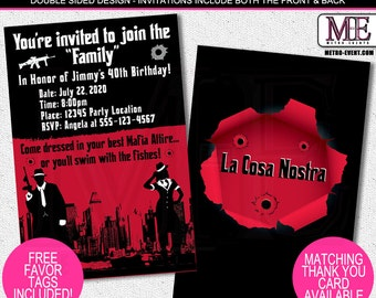Mobster Invitations, Mafia Invitations, Mob Party Invitations, Adult Invitations, Gangster Invitations, Mob Wives Invitations, Mobster Party