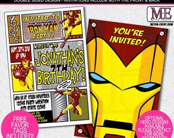 Superhero Invitation, Iron Man Birthday, Ironman Invitations, Iron Man Invitation, Ironman Party Invitations, Invitations, Hero, Super Hero