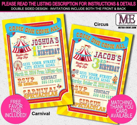 Vibrant and Entertaining Carnival/Circus Birthday Party Invitations