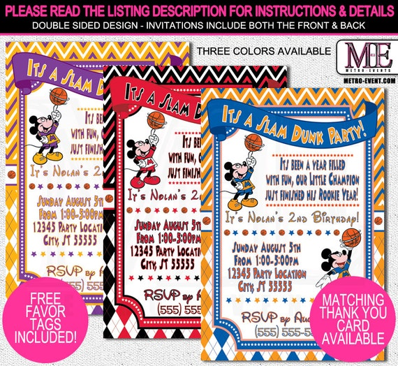 Mickey Mouse Invitations, Birthday Invitation, Mickey Mouse Basketball Invitations, Mickey Birthday, Mickey Mouse Party, Mickey Invitations