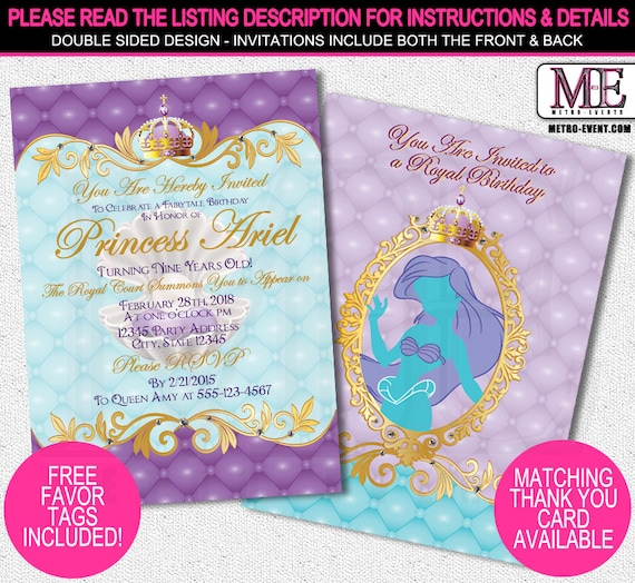 Princess Ariel Invitations Disney Little Mermaid Party Birthday Invitation