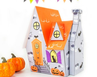 DIY Halloween House, Printable Haunted House, Printable Gift Box, Witches House, Halloween Paper Crafts, Halloween Decor, Instant Download