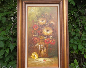 Vintage Oil on Canvas Flowers Floral Painting Still Life Artist Signed