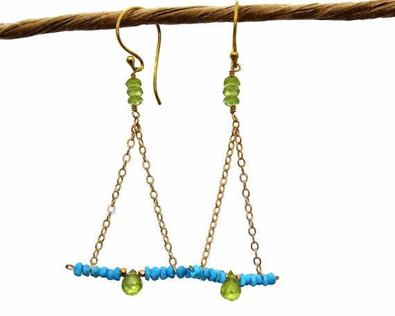 Turquoise and Peridot Chandelier Earrings. Triangular Gemstone Bar Earrings. Sterling Silver or Gold Fill. E-1786