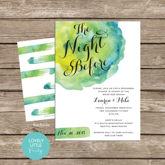 The Night Before Watercolor Rehearsal Dinner Invitation DIY Printable -  Lovely Little Party