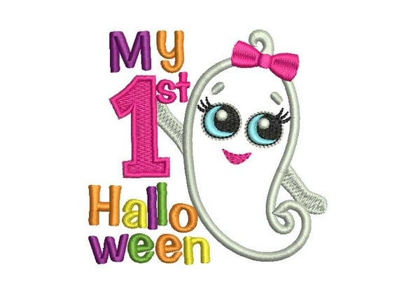 My First Halloween Baby Girl Halloween Applique Embroidery